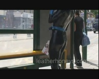 Babe in High St   Bus in Tight Latex Rubber Catsuit - Dannii Harwood
