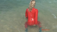 Red latex mermaid - YouTube