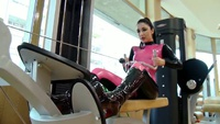 Working Out in Latex Catsuit at the Gym