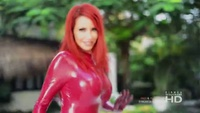 Bianca Beauchamp Super Sexy Red Latex Catsuit on the Beach - YouTube