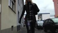 Woman wearing Latex in public