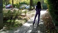 Wearing Purple Latex Catsuit Outside