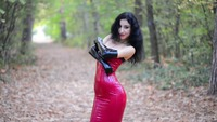 Red Latex Dress and Long Gloves