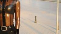 Black Latex Fashion in Public