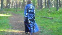 shiny pvc blue raincoat