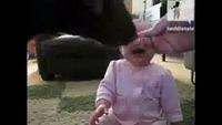 Un bébé a un énorme fou rire en voyant son chien manger